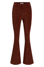 Dames flared velvet broek_Dames flared velvet broek, Roestbruin