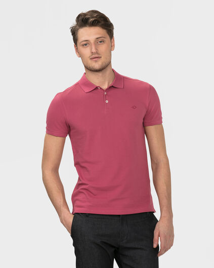 HEREN ORGANIC COTTON PIQUE POLOSHIRT Lichtrood