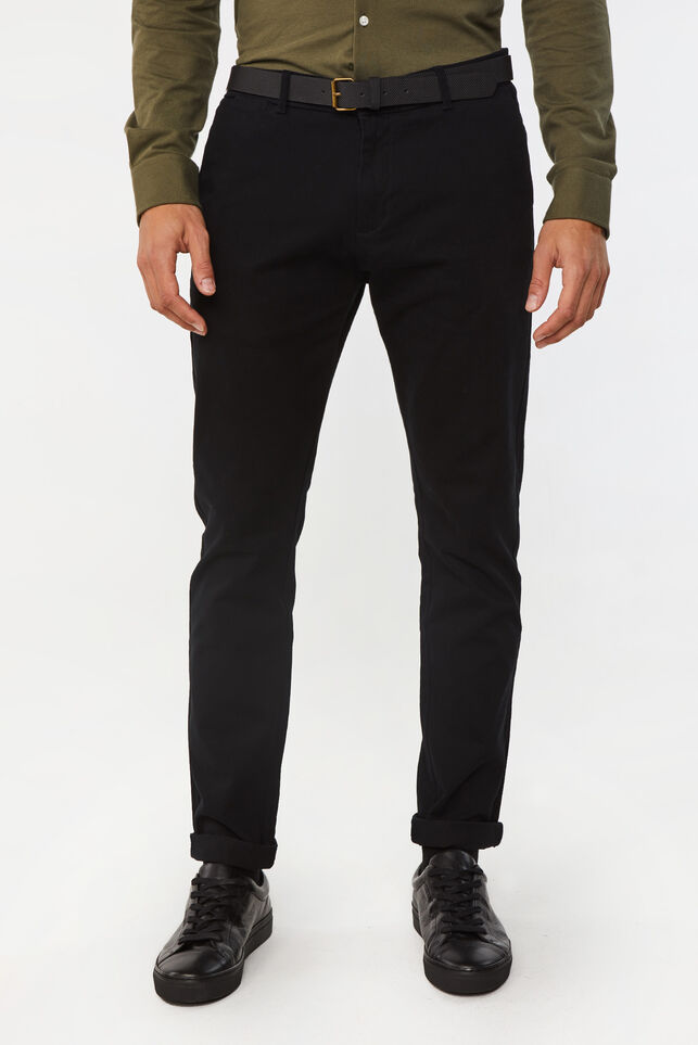 Heren effen skinny fit chino Zwart