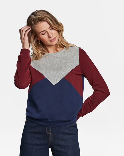 DAMES COLOURBLOCK SWEATER Blauw