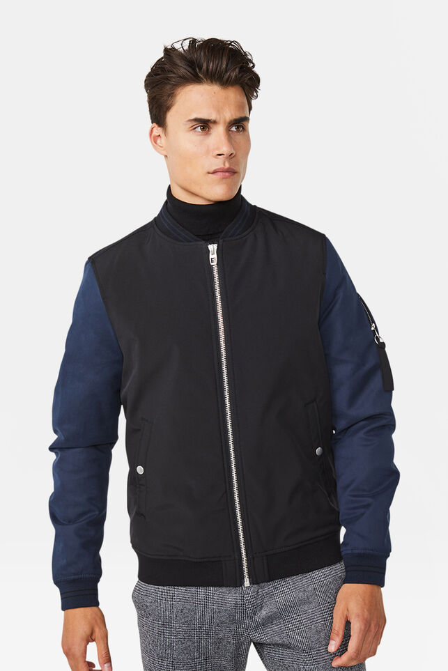 Heren colourblock bomberjacket Marineblauw