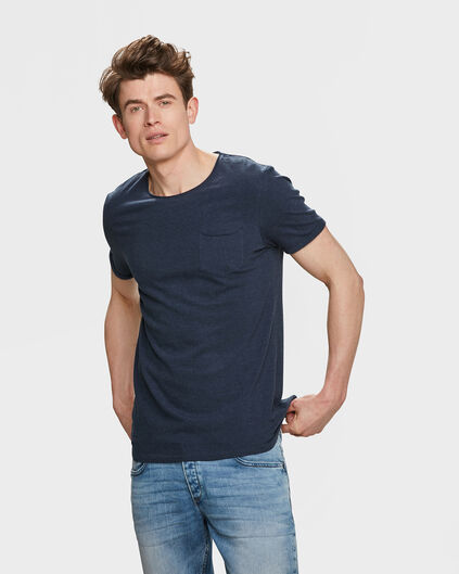 HEREN SLIM FIT R-NECK T-SHIRT Donkerblauw