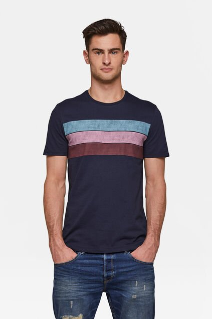 Heren colourblocking T-shirt Marineblauw