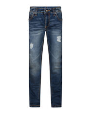 JONGENS SLIM FIT RIP EN REPAIR POWERSTRETCH JEANS_JONGENS SLIM FIT RIP EN REPAIR POWERSTRETCH JEANS, Blauw