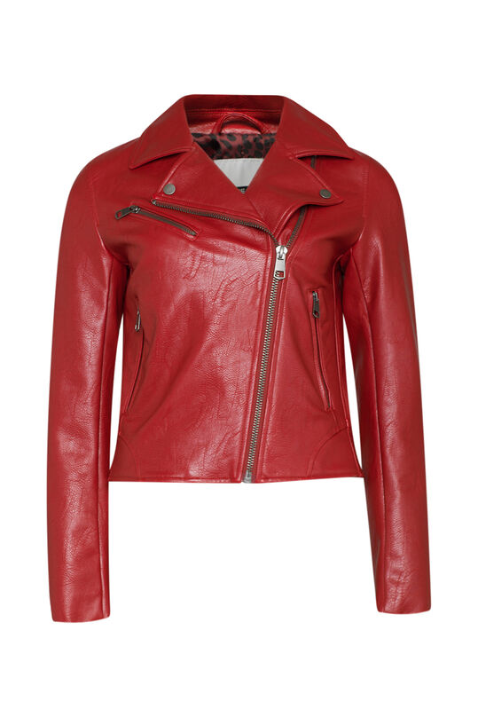 Dames imitatie leren jacket Bordeauxrood