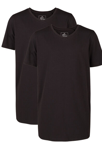 Jongens basic T-shirt, 2-pack Zwart