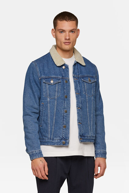 Heren sherpa trucker jacket Blauw