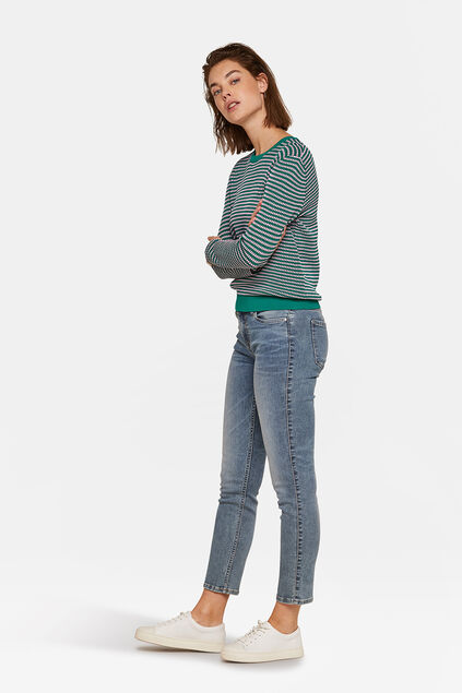 JEANS MID RISE SLIM HIGH STRETCH FEMME Bleu gris