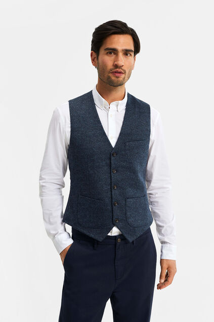 Heren slim fit gilet Donkerblauw
