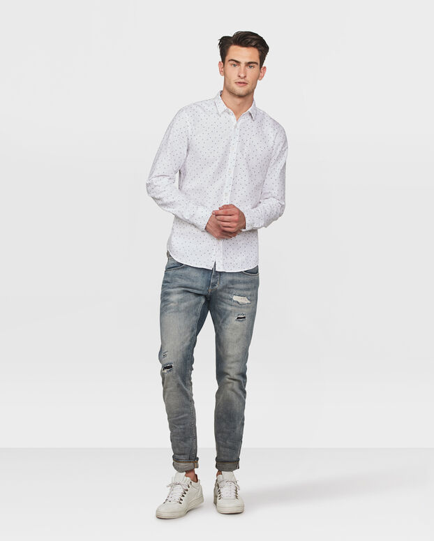HEREN SLIM FIT BLUE RIDGE PRINT OVERHEMD Wit