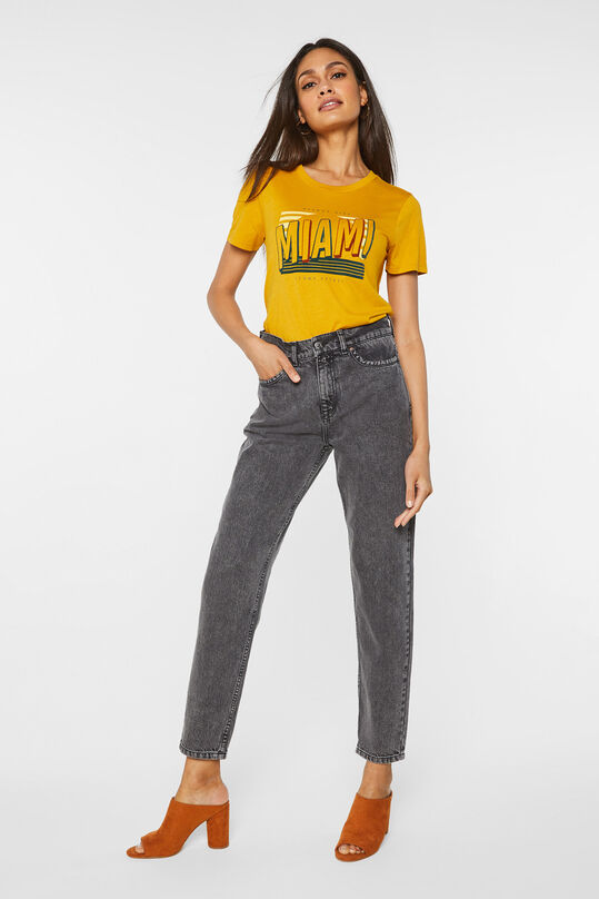 Dames high waist tapered jeans Donkergrijs