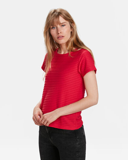 TOP RIB TEXTURE FEMME Rouge vif