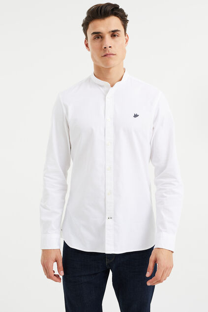 Chemise slim fit en Oxford stretch à col Mao homme Blanc