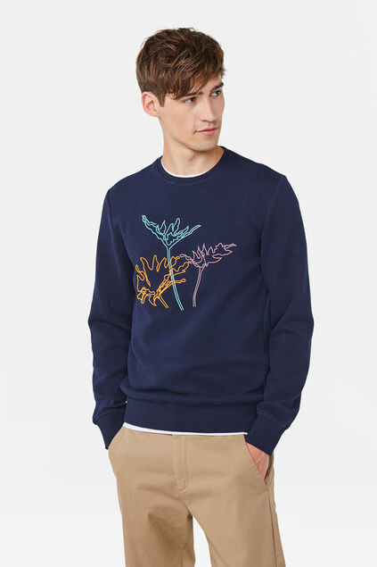 Heren embroidery sweater Marineblauw