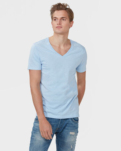HEREN ORGANIC COTTON  V-NECK T-SHIRT Lichtblauw