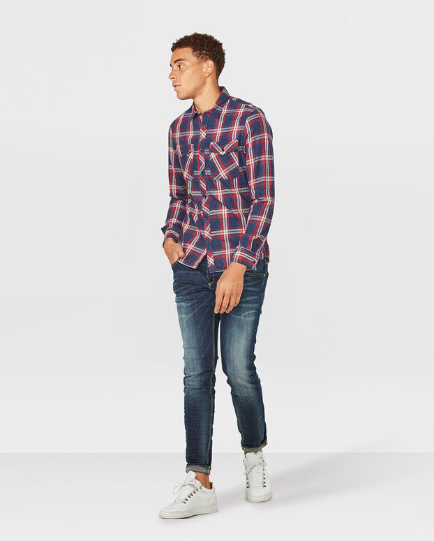 HEREN SLIM FIT CHECKED OVERHEMD Donkerblauw