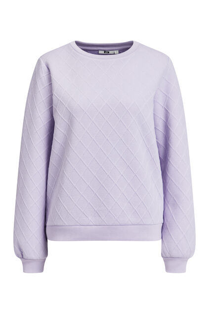 Sweat-shirt à structure à carreaux femme Lilas