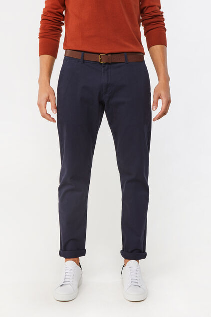 Heren effen slim tapered chino Donkerblauw