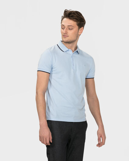 POLO STRETCH HOMME Bleu glace