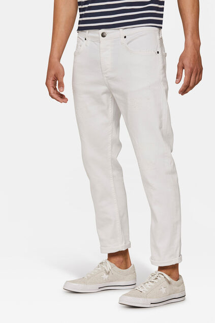 Jeans relaxed cropped tapered repair homme Blanc