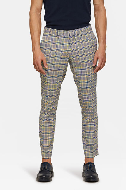 Pantalon à carreaux skinny fit homme Jaune