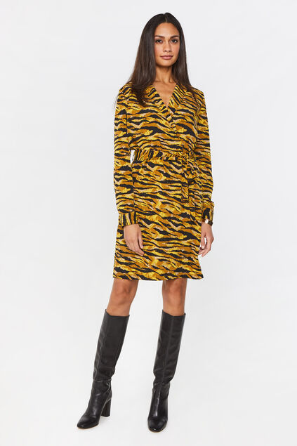 Dames jurk met ceintuur All-over print