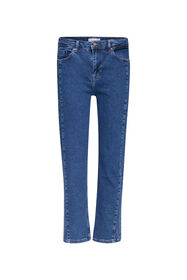 Dames mid rise straight leg jeans_Dames mid rise straight leg jeans, Donkerblauw
