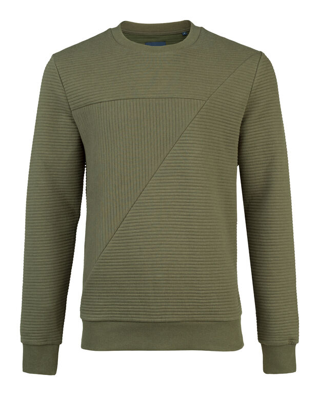 SWEAT-SHIRT STRIPED STRUCTURE HOMME Vert armee