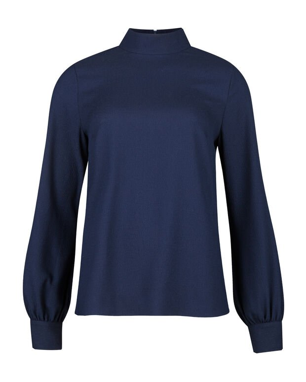 DAMES HIGH NECK BLOUSE Marineblauw