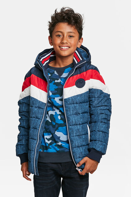 JONGENS COLOURBLOCK PUFFER JACKET Rood