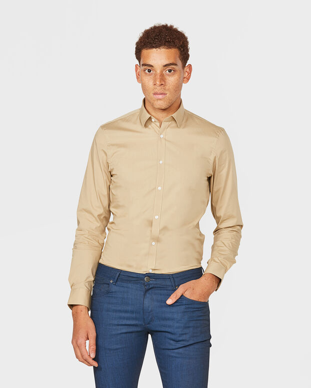 CHEMISE SLIM FIT STRETCH HOMME Beige