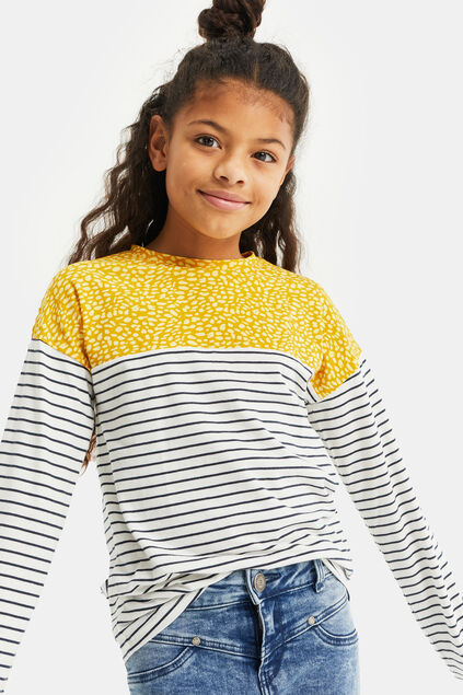 Meisjes gestreept T-shirt met colourblock All-over print
