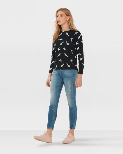 DAMES BIRD PRINT TOP Donkerblauw
