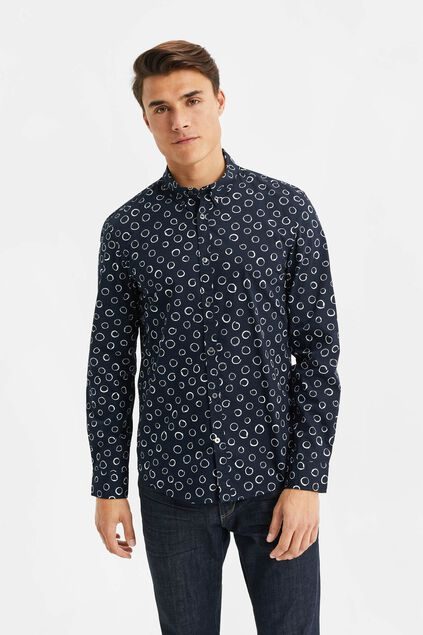 Heren slim fit overhemd met cirkeldessin All-over print