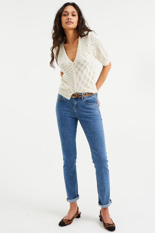 Dames mid rise slim fit jeans met super stretch Blauw