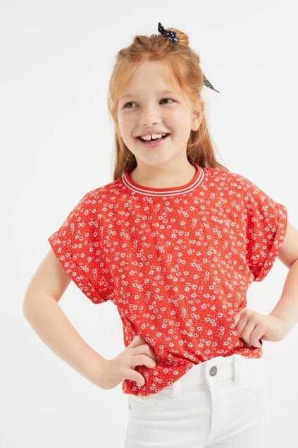 Meisjes top met dessin en glitterdetails All-over print