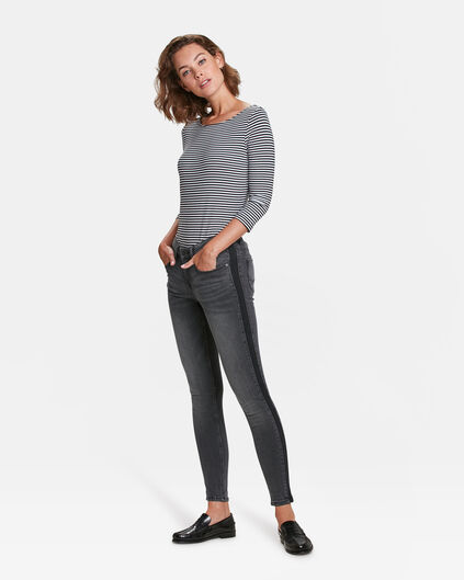 DAMES MID RISE SUPER SKINNY SIDE STRIPE JEANS Grijs
