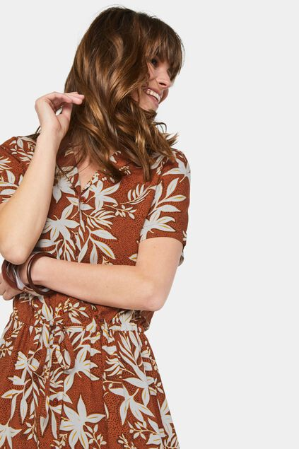 Dames overhemdjurk met volant All-over print
