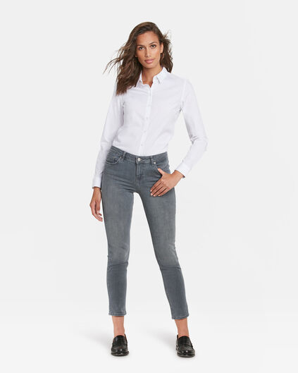 JEANS MID RISE SLIM HIGH STRETCH FEMME Gris clair