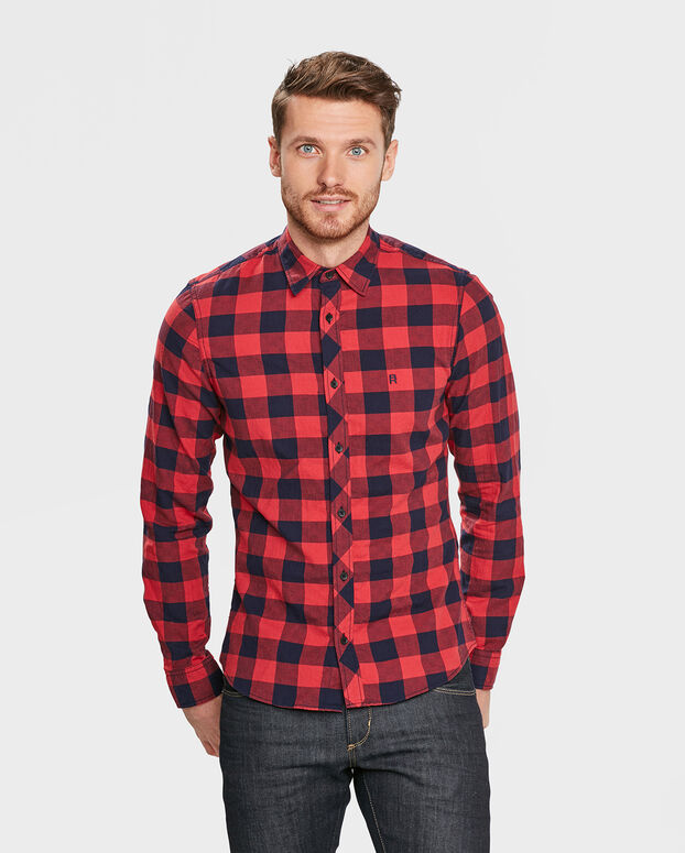 CHEMISE SLIM FIT CHECKED HOMME Rouge