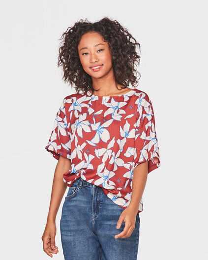 DAMES FLOWER PRINT TOP Roestbruin