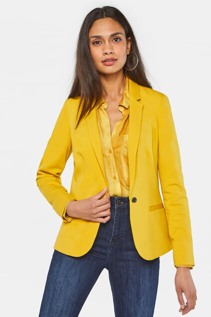 Dames regular fit blazer Okergeel