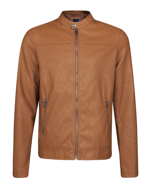 HEREN FAUX LEATHER BIKER JACKET Cognac