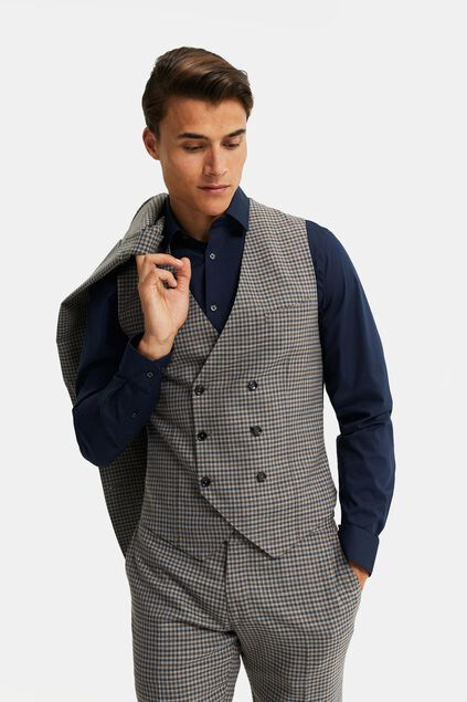 Heren geruit double breasted gilet, Carey Grijs