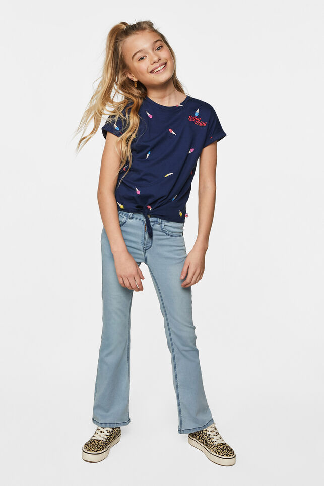 Meisjes T-shirt met knoopdetail All-over print