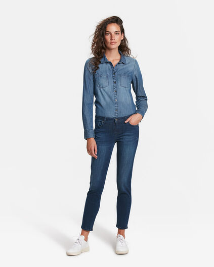 DAMES MID RISE SLIM HIGH STRETCH JEANS Donkerblauw