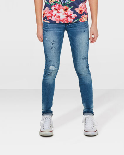 JEANS SUPER SKINNY SUPER STRETCH SCRIBBLE FILLE Bleu