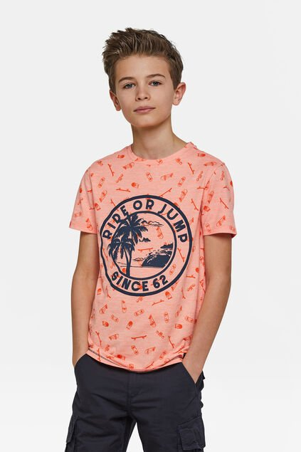 Jongens ride or jump T-shirt Oranje
