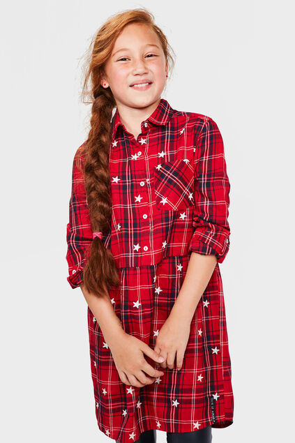 ROBE CHECKED FILLE Rouge