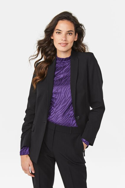 Dames regular fit blazer met stretch Zwart